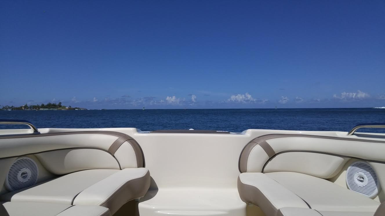 Picture looking out over the bow of the jetboat into the Atlantic looking crystal blue.