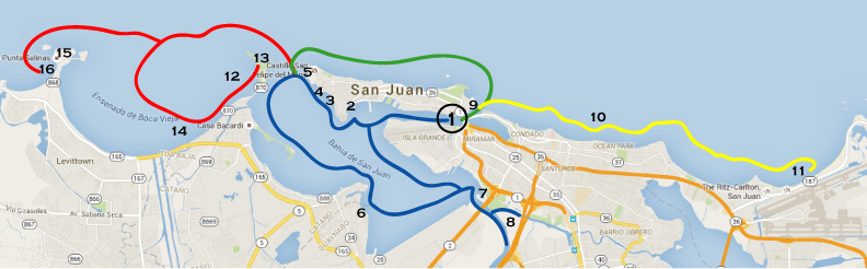 Chart of the routes that boats take in San Juan during charters.