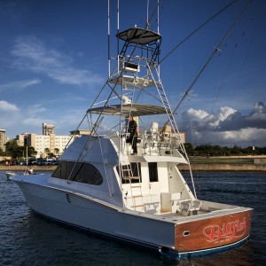 Picture of 50 foot sportfisher Billfish leaving dock.